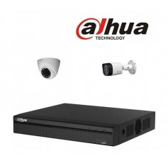 PACK DVR DAHUA 4 CHAINES+2 CHARGEURS+2 CAMERAS (1 INTERNE+1 EXTERNE) HD
