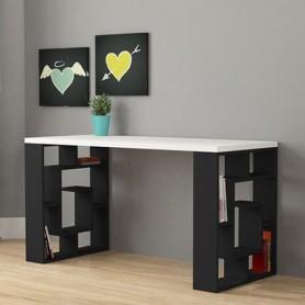 bureau avec étagères sur chaque côté blanc/noir
